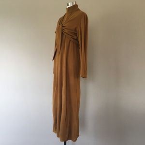 Dress Nina Leonard Large Mustard Brown Acrylic